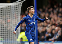 11th January 2020; Stamford Bridge, London, England; English Premier League Football, Chelsea versus Burnley; Jorginho of Chelsea celebrates after scoring his sides 1st goal in the 28th minute from a penalty to make it 1-0 with Tammy Abraham of Chelsea - Strictly Editorial Use Only. No use with unauthorized audio, video, data, fixture lists, club/league logos or 'live' services. Online in-match use limited to 120 images, no video emulation. No use in betting, games or single club/league/player publications