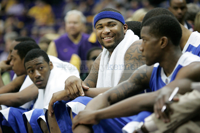 UK's DeMarcus Cousins smiles to a crowd member in the game against LSU at Pete Maravich Assembly Center on Saturday, Feb. 6, 2010. Photo by Scott Hannigan | Staff