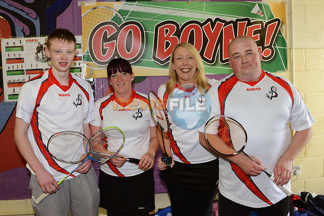 Andrew Walker, Linda Murphy, Anna Greene and Ian Clarke at the Boyne Badminton Club Battle of the Boyne Finals. Photo: Andy Spearman. www.newsfile.ie