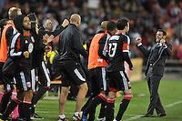 D.C. United head coach Ben Olsen celebrates the victory.  D.C. United defeated The Columbus Crew 3-2 at RFK Stadium, Saturday October 20, 2012.