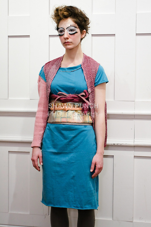 "Model poses in an outfit from the Susan Cianciolo Fall/Winter 2011 ""when buildings meet the sky"" collection, during New York Fashion Week, February 16, 2011."