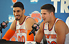 Doug McDermott #20, right, and Enes Kanter #00 of the New York Knicks speak during the team's Media Day held at Madison Square Garden Training Center in Greenburgh, NY on Monday, Sept. 25, 2017.