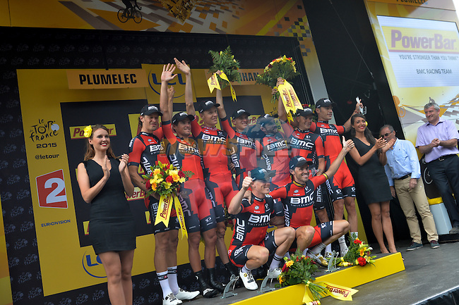 BMC Racing Team celebrate on the podium after winning Stage 9 of the 2015 Tour de France a team time trial running 28km from Vannes to Plumelec, France. 11th July 2015.<br /> Photo: ASO/P.Perreve/Newsfile