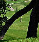 Belleville East golfer Alex Agne drives on the fifth fairway. The first 18 holes of the Southwestern Conference Boys Golf Tournament were played at the Stonewolf Golf Course in Fairview Heights on Monday August 27, 2018.<br /> Tim Vizer/Special to STLhighschoolsports.com