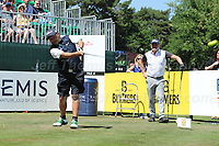 Brendan O'Carroll tees off from the first during the Bulmers 2018 Celebrity Cup at the Celtic Manor Resort. Newport, Gwent,  Wales, on Saturday 30th June 2018<br /> <br /> <br /> Jeff Thomas Photography -  www.jaypics.photoshelter.com - <br /> e-mail swansea1001@hotmail.co.uk -<br /> Mob: 07837 386244 -
