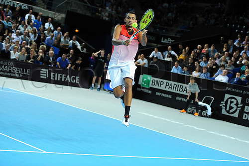 21.02.2016. MARSEILLE, France. ATP Open 13 mens final. Nick Kyrgios versus Martin Cilic.  Nick Kyrgios (AUS) on his way to his 2 set win over Martin Cilic