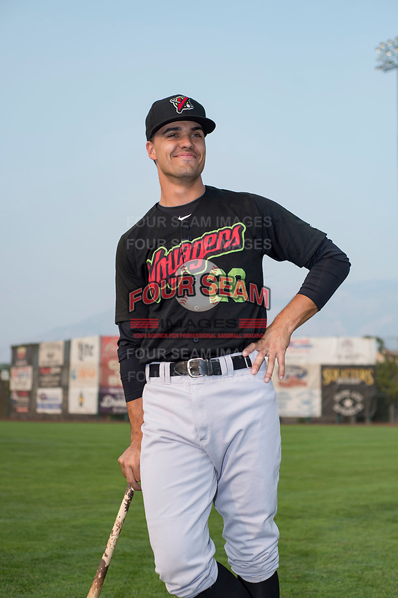 Great Falls Voyagers infielder/outfielder Micah Coffey (28) poses for a photo prior to a Pioneer League game against the Ogden Raptors at Lindquist Field on August 23, 2018 in Ogden, Utah. The Ogden Raptors defeated the Great Falls Voyagers by a score of 8-7. (Zachary Lucy/Four Seam Images)