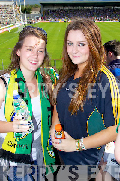 Amy Doran (Asdee) and Hayley Doyle (Asdee) pictured at the Kerry v Tyrone match in Fitzgerald Stadium on Sunday..