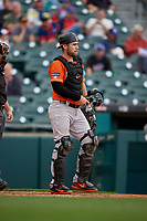 Norfolk Tides catcher Austin Wynns (19) during an International League game against the Buffalo Bisons on June 21, 2019 at Sahlen Field in Buffalo, New York.  Buffalo defeated Norfolk 2-1, the first game of a doubleheader.  (Mike Janes/Four Seam Images)