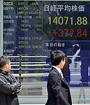 May 7, 2013, Tokyo, Japan - Japan's Nikkei Average rises above the 14,000-yen mark for the first time since June 2008 during the morning trading on the Tokyo Stock Exchange market on Tuesday, May 7, 2013. The market played catch-up from an extended holidays.  (Photo by Natsuki Sakai/AFLO)
