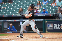 Ben Haefner (6) of the Sam Houston State Bearkats follows through on his swing against the Kentucky Wildcats during game four of the 2018 Shriners Hospitals for Children College Classic at Minute Maid Park on March 3, 2018 in Houston, Texas. The Wildcats defeated the Bearkats 7-2.  (Brian Westerholt/Four Seam Images)
