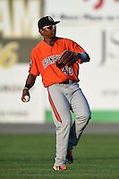 Aberdeen IronBirds outfielder Oswill Lartiguez (40) throws the ball in during a game against the Williamsport Crosscutters on August 4, 2014 at Bowman Field in Williamsport, Pennsylvania.  Aberdeen defeated Williamsport 6-3.  (Mike Janes/Four Seam Images)