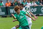 07.07.2019, Parkstadion, Zell am Ziller, AUT, PSP SV WERDER BREMEN vs WSG SWAROVSKI TIROL<br /> <br /> im Bild / picture shows <br /> <br /> <br /> Milos Veljkovic (Werder Bremen #13)v Kopfball Yuya Osako (Werder Bremen #08)<br /> <br /> Foto © nordphoto / Kokenge