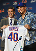 Wilson Ramos, newly-signed New York Mets catcher, right, and general manager Brodie Van Wagenen pose for pictures during Ramos' introductory news conference at Citi Field in Flushing. NY on Tuesday, Dec. 18, 2018.