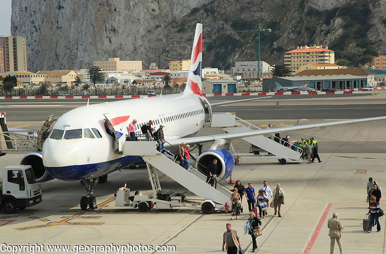 British airways plane International airport with the Rock in background, Gibraltar, southern Europe