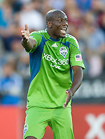 Blaise Nkufo of Sounders argues with his teammates during the game against the Earthquakes at Buck Shaw Stadium in Santa Clara, California on July 31st, 2010.   Seattle Sounders defeated San Jose Earthquakes, 1-0.