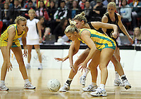 01.09.2010 Silver Ferns Casey Williams and Australian Catherine Cox in action during the Silver Ferns v Australia New World netball test match in Wellington. Mandatory Photo Credit ©Michael Bradley.