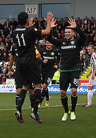 Gary Hooper congratulated by Lassad Nouioui on his goal in the St Mirren v Celtic Clydesdale Bank Scottish Premier League match played at St Mirren Park, Paisley on 20.10.12.