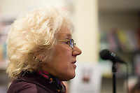 Jenny Ellis, Leila's daughter, at the event to discuss Leila Berg's contribution to radical education and children's lives, Houseman's bookshop, London, 22nd May 2013.