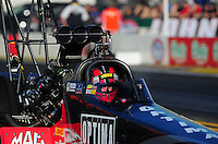 Feb. 9, 2012; Pomona, CA, USA; NHRA top fuel dragster driver David Grubnic during qualifying at the Winternationals at Auto Club Raceway at Pomona. Mandatory Credit: Mark J. Rebilas-