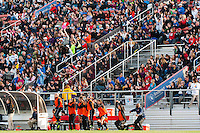 Sky Blue FC players and fans celebrate a saved penalty kick. Sky Blue FC defeated the Western New York Flash 1-0 during a National Women's Soccer League (NWSL) match at Yurcak Field in Piscataway, NJ, on April 14, 2013.