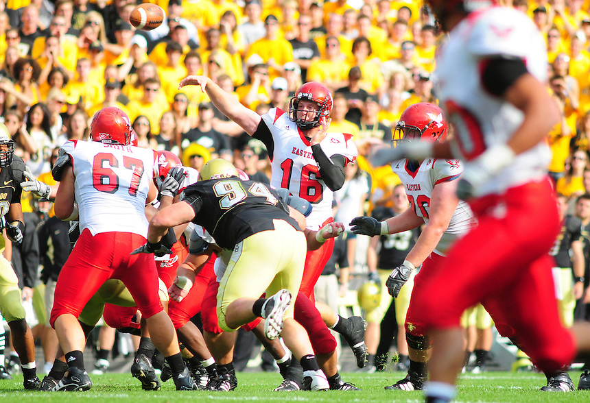 06 September 08: Eastern Washington quarterback Matt Nichols passes against Colorado. The Colorado Buffaloes defeated the Eastern Washington Eagles 31-24 at Folsom Field in Boulder, Colorado. FOR EDITORIAL USE ONLY