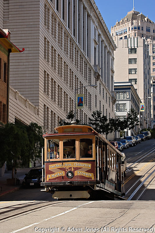 Cable Car in financial district of San Franciso, California