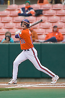 Ben Paulsen #10 of the Clemson Tigers follows through on his swing versus the Wake Forest Demon Deacons at Doug Kingsmore stadium March 13, 2009 in Clemson, SC. (Photo by Brian Westerholt / Four Seam Images)