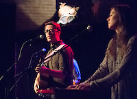 Jeremy Messersmith and Sarah Elhardt Perbix (keyboard) perform at the High Noon Saloon in Madison, Wisconsin on Thursday, February 13, 2014
