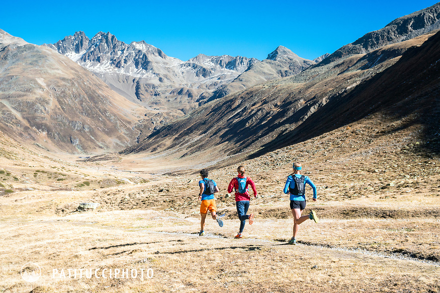 Trail running in Val Funtauna between Berguns and Davos, Switzerland