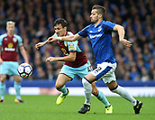 1st October 2017, Goodison Park, Liverpool, England; EPL Premier League Football, Everton versus Burnley; Jack Cork of Burnley and Morgan Schneiderlin of Everton compete for the ball