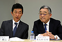 August 9, 2017, Tokyo, Japan - Japan Display chairman and CEO Nobuhiro Higashiiriki (R) chats with president Shuji Aruga as he announces the company's business strategy in Tokyo on Wednesday, August 9 2017. Japan Display announced to cut 3,700 jobs mostly overseas to restruct its business.  (Photo by Yoshio Tsunoda/AFLO) LwX -ytd-