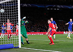 Saul Niguez of Atletico Madrid scores the first goal past Thibaut Courtois of Chelsea during the Champions League Group C match at the Stamford Bridge, London. Picture date: December 5th 2017. Picture credit should read: David Klein/Sportimage
