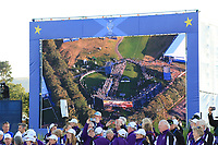 A view of the award ceremony from the sky at the Solheim Cup 2019, Gleneagles Golf CLub, Auchterarder, Perthshire, Scotland. 15/09/2019.<br /> Picture Thos Caffrey / Golffile.ie<br /> <br /> All photo usage must carry mandatory copyright credit (© Golffile | Thos Caffrey)