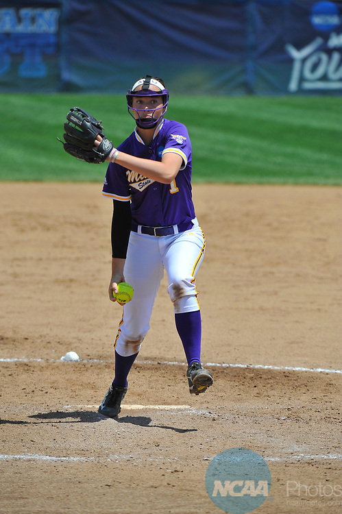 SALEM, VA - MAY 29:  Coley Ries (1) of Minnesota State University pitches against Angelo State University during the Division II Women's Softball Championship held at Moyer Park on May 29, 2017 in Salem, Virginia. Minnesota State defeated Angelo State 5-1 to win the national championship. (Photo by Andres Alonso/NCAA Photos via Getty Images)