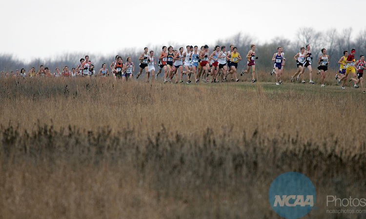 17 NOV 2007: Runners make their way through the open prairie near St. Olaf College during the Division III Men's Cross Country Championship held at the Skoglund Athletic Fields in Northfield, MN.  Tyler Sigl of the University of Wisconsin Platteville won the individual title with a time of 24:24 while NYU took home the team title.  Andy King/NCAA Photos