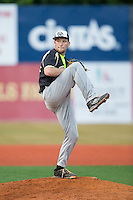 Gastonia Grizzlies relief pitcher Hayden Cleveland (24) in action against the Asheboro Copperheads at McCrary Park on June 1, 2015 in Asheboro, North Carolina.  The Copperheads defeated the Grizzlies 11-6. (Brian Westerholt/Four Seam Images)