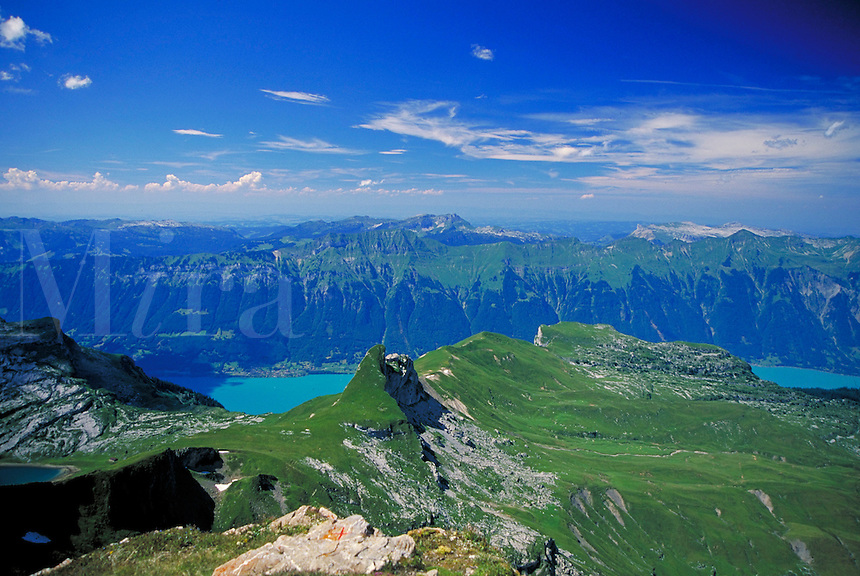 A mountain lake in Interlaken, Switzerland. alpine landscape, mountains, geography. Switzerland.