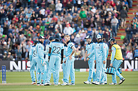 The England players get together following Ben Stokes dismissal of Shakib Al Hasan (Bangladesh) during England vs Bangladesh, ICC World Cup Cricket at Sophia Gardens Cardiff on 8th June 2019