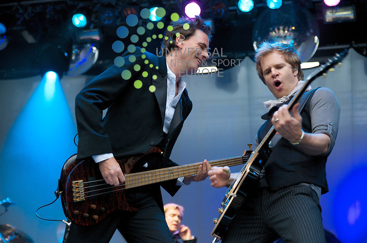 John Taylor rocks on with the Duran Duran Guitarist...Duran Duran at Edinburgh Castle 16/07  Pictures taken by Bob Mather/Universal.All pictures must be credited to www.universalnewsandsport.com (Office) 0844 884 51 22