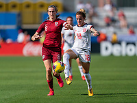 FRISCO, TX - MARCH 11: Jill Scott #8 of England defends Angela Sosa #18 of Spain during a game between England and Spain at Toyota Stadium on March 11, 2020 in Frisco, Texas.