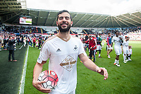 Jordi Amat of Swansea City on the pitch with team players and staff during a lap of honour after the Barclays Premier League match between Swansea City and Manchester City played at the Liberty Stadium, Swansea on the 15th of May  2016