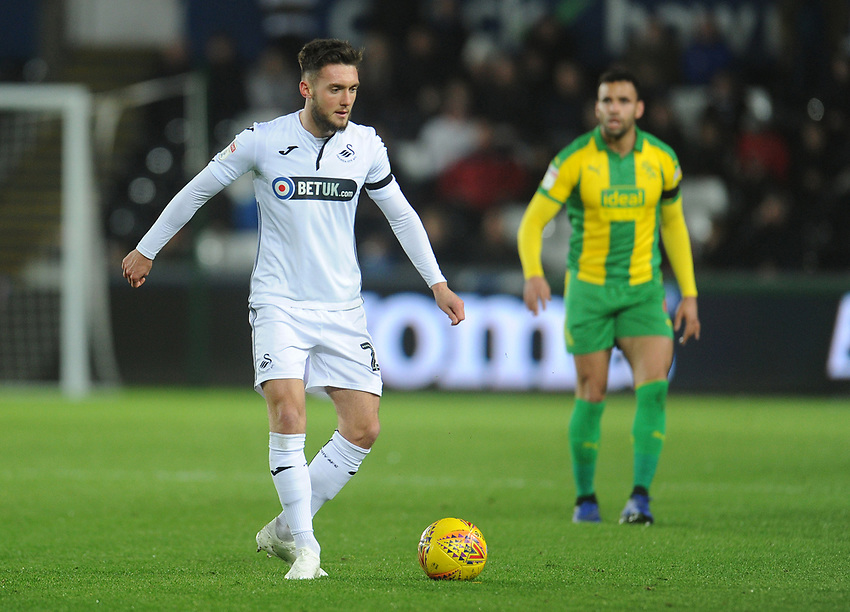 Swansea City's Matt Grimes<br /> <br /> Photographer Kevin Barnes/CameraSport<br /> <br /> The EFL Sky Bet Championship - Swansea City v West Bromwich Albion - Wednesday 28th November 2018 - Liberty Stadium - Swansea<br /> <br /> World Copyright © 2018 CameraSport. All rights reserved. 43 Linden Ave. Countesthorpe. Leicester. England. LE8 5PG - Tel: +44 (0) 116 277 4147 - admin@camerasport.com - www.camerasport.com