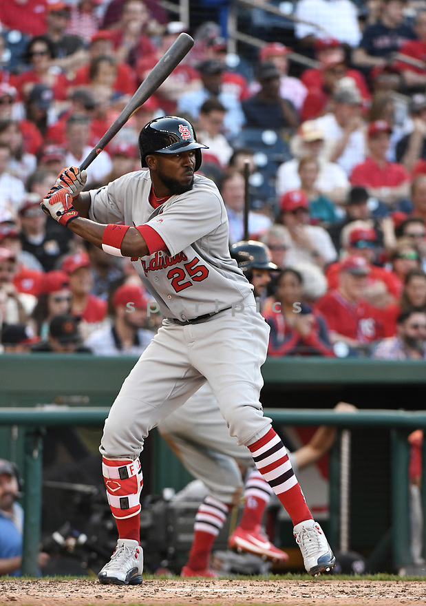 WASHINGTON DC - April 12, 2017: Dexter Fowler #25 of the St. Louis Cardinals during a game against the Washington Nationals on April 12 2017 at Nationals Park in Washington DC. The Cardinals beat the Nationals 6-1.-(Chris Bernacchi/SportPics)