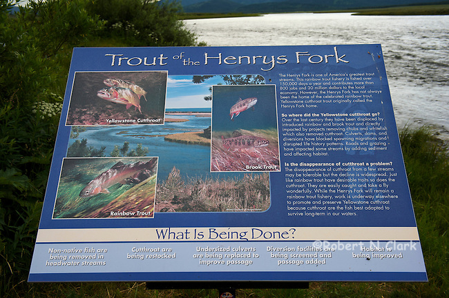 Interpretative sign on the Henry's Fork of the Snake River showing conservation measures taken for the Yellowstone Cutthroat Trout