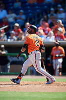 Baltimore Orioles second baseman Jonathan Villar (2) follows through on a swing during a Grapefruit League Spring Training game against the Philadelphia Phillies on February 28, 2019 at Spectrum Field in Clearwater, Florida.  Orioles tied the Phillies 5-5.  (Mike Janes/Four Seam Images)