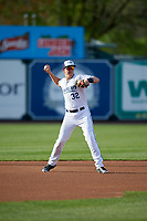 West Michigan Whitecaps third baseman Josh Lester (32) throws to first base during a game against the Clinton LumberKings on May 3, 2017 at Fifth Third Ballpark in Comstock Park, Michigan.  West Michigan defeated Clinton 3-2.  (Mike Janes/Four Seam Images)
