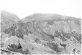 An RGS freight is about to round Windy Point.<br /> RGS  Windy Point, CO  Taken by Richardson, Robert W.