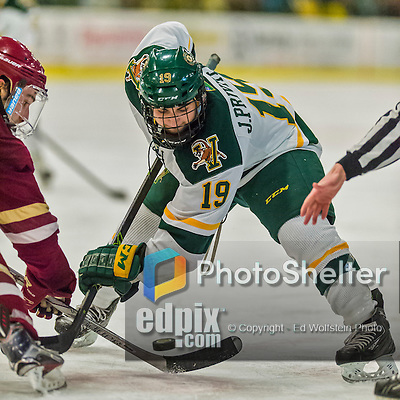 20 February 2016: University of Vermont Catamount Forward Jarrid Privitera, a Sophomore from Old Tappan, NJ, takes a second period face-off against the Boston College Eagles at Gutterson Fieldhouse in Burlington, Vermont. The Eagles defeated the Catamounts 4-1 in the second game of their weekend series. Mandatory Credit: Ed Wolfstein Photo *** RAW (NEF) Image File Available ***