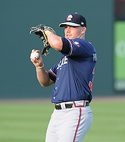 Outfielder Robby Hefflinger (36) of the Rome Braves, an Atlanta Braves affiliate, prior to a game against the Greenville Drive on August 13, 2012, at Fluor Field at the West End in Greenville, South Carolina. Rome won, 3-2. (Tom Priddy/Four Seam Images)